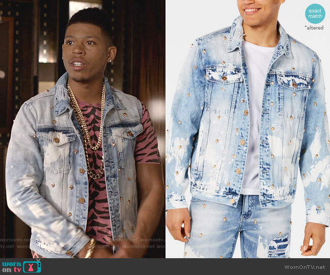 Lancaster Skull Studded Destroyed Denim Jacket by Reason worn by Hakeem Lyon (Bryshere Y. Gray) on Empire