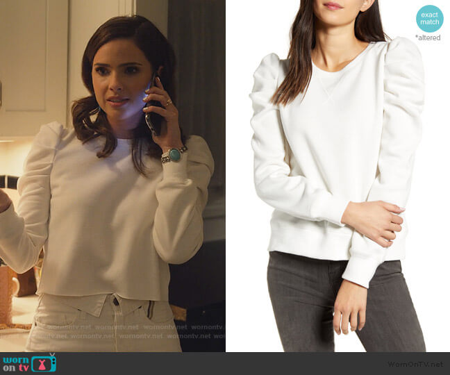 Janine Sweatshirt by Shelley HennigRebecca Minkoff worn by Shelley Hennig on Dollface