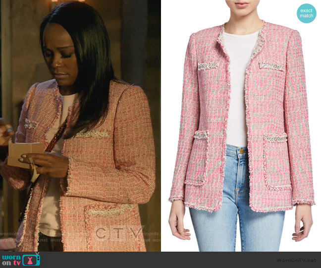 Collarless Tweed Jacket by Rebecca Taylor worn by Michaela Pratt (Aja Naomi King) on HTGAWM