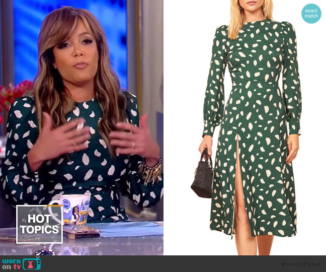 Creed printed crepe midi dress by Reformation worn by Sunny Hostin  on The View