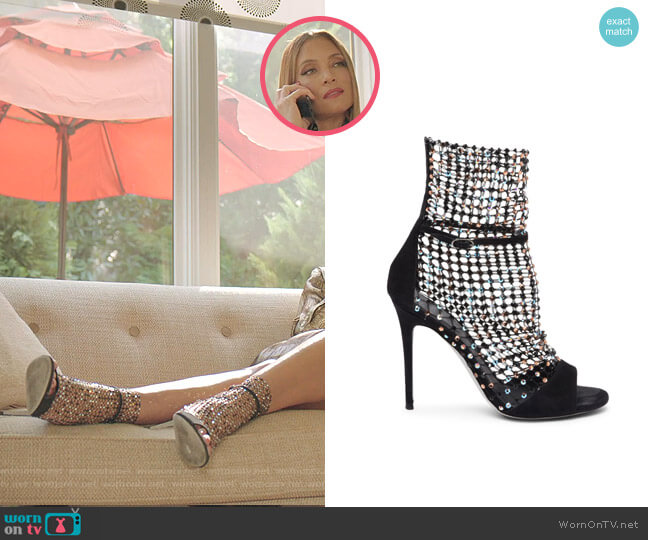 Galaxia Crystal Mesh Suede Sandals by Rene Caovilla worn by Dominique Deveraux (Michael Michele) on Dynasty