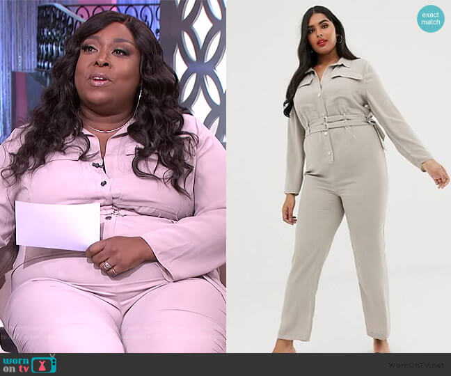Plus utility jumpsuit in stone by River Island worn by Loni Love  on The Real
