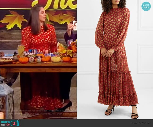 Tiered paisley-print metallic fil-coupé chiffon maxi dress by Rixo worn by Abby Huntsman  on The View