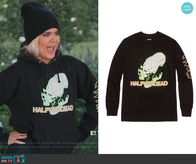 Skull Graphic Hoodie by Halfway Dead worn by Khloe Kardashian  on Keeping Up with the Kardashians