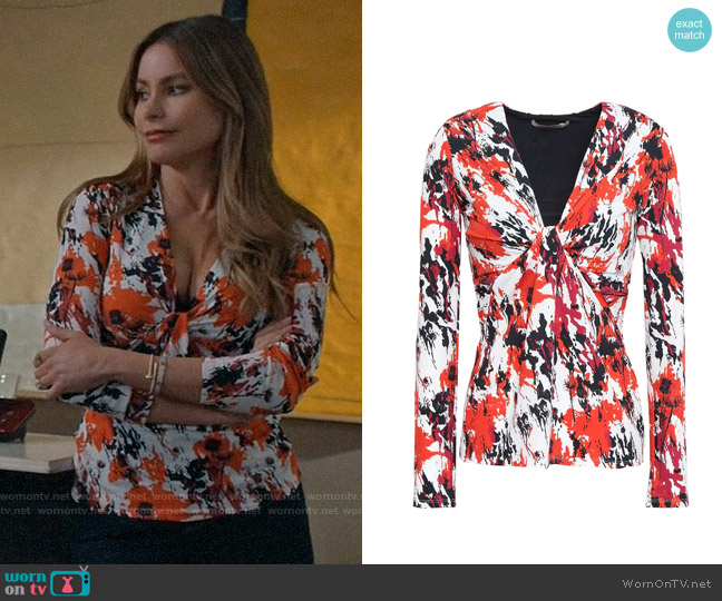 Roberto Cavalli Twist-front printed stretch-jersey top worn by  Gloria Pritchett (Sofia Vergara) on Modern Family