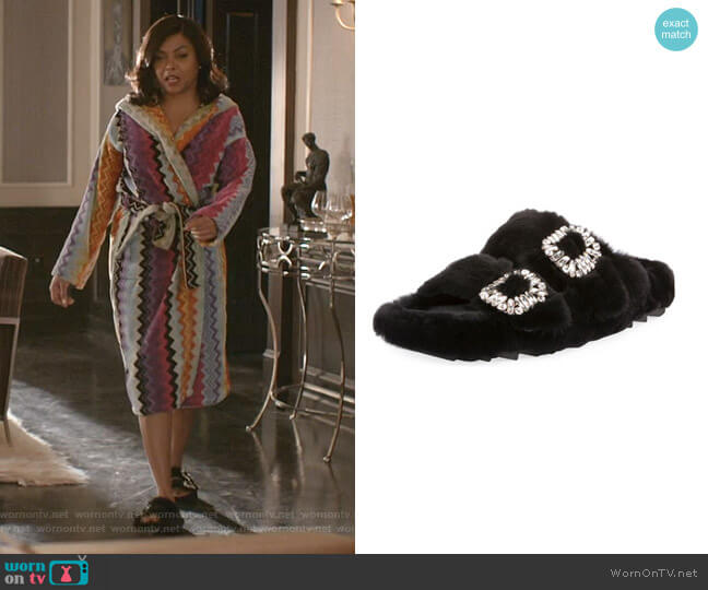 Viv Slidy Flat Fur Sandal by Roger Vivier worn by Cookie Lyon (Taraji P. Henson) on Empire