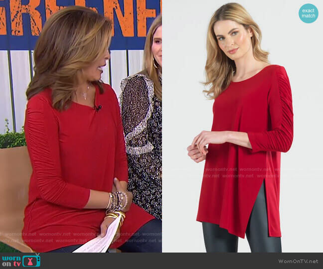 Ruched Sleeve Angle Hem Tunic by Clara Sunwoo worn by Hoda Kotb  on Today