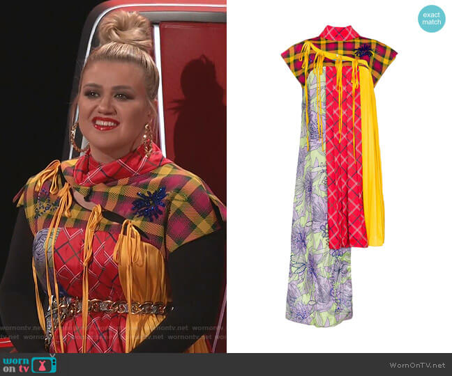 Asymmetric Deconstructed Cheongsam Dress by Shuting Qiu worn by Kelly Clarkson  on The Voice