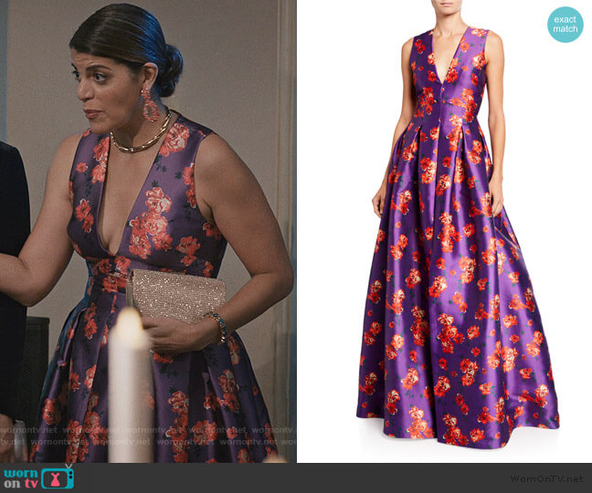 Brook Floral V-Neck Sleeveless Twill Ball Gown by Sachin & Babi worn by Linda Furey on Madam Secretary