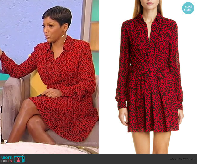 Leopard Print Long Sleeve Minidress by Saint Laurent worn by Tamron Hall  on Tamron Hall Show