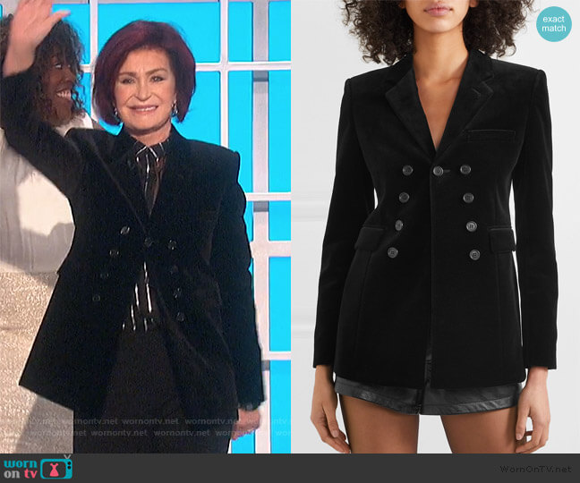Cotton-velvet blazer by Saint Laurent worn by Sharon Osbourne  on The Talk