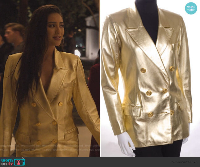 Gold Double Breasted Blazer by Saint Laurent worn by Stella Cole (Shay Mitchell) on Dollface