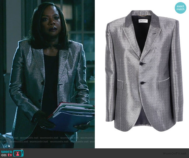 Metallic Textured Blazer by Saint Laurent worn by Annalise Keating (Viola Davis) on HTGAWM