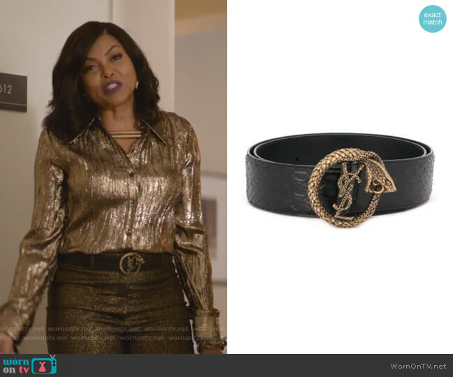 Monogram Serpent Buckle Belt by Saint Laurent worn by Cookie Lyon (Taraji P. Henson) on Empire