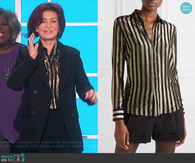 Striped metallic silk-blend chiffon shirt by Saint Laurent worn by Sharon Osbourne  on The Talk