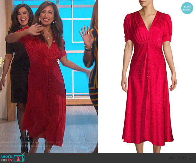 Lea Floral Silk Jacquard A-Line Dress by Saloni worn by Carrie Inaba  on The Talk