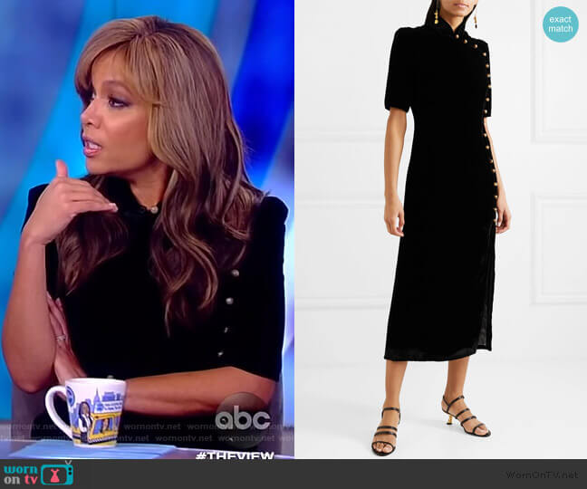 Taro button-embellished velvet midi Dress by Saloni worn by Sunny Hostin  on The View