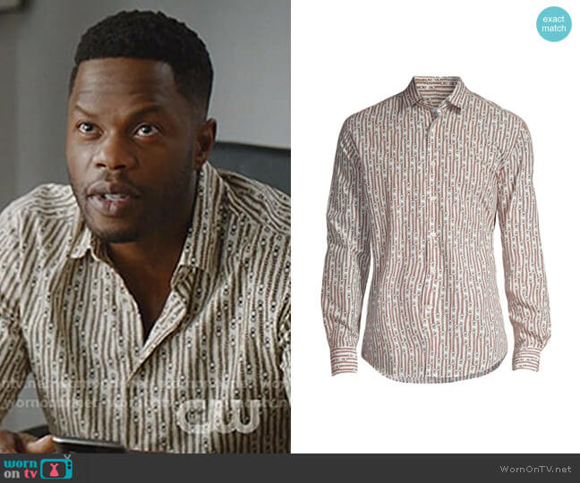 Chain Link Gancini Shirt by Salvatore Ferragamo worn by Jeff Colby (Sam Adegoke) on Dynasty