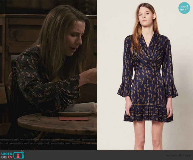 Short Printed Dress with Ruffles by Sandro worn by Stephanie 'Stevie' McCord (Wallis Currie-Wood) on Madam Secretary