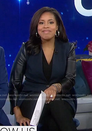 Sheinelle's navy leather-sleeve blazer on Today