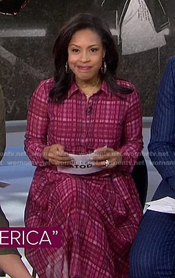 Sheinelle's red plaid shirtdress on Today