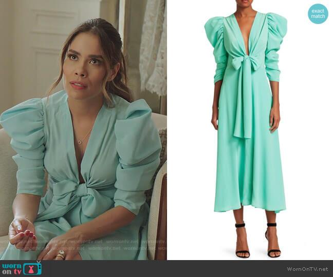 Hel Silk Bow Puff-Sleeve Midi Dress by Silvia Tcherassi worn by Cristal Jennings (Daniella Alonso) on Dynasty