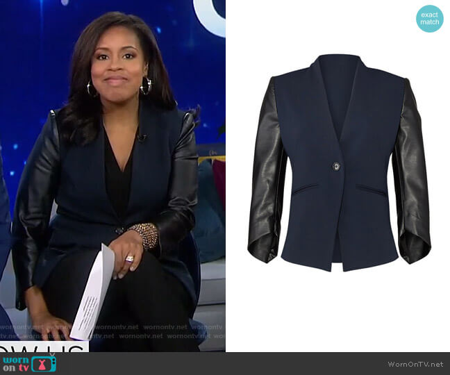 Faux Leather Sleeve Blazer by Slate & Willow  worn by Sheinelle Jones  on Today