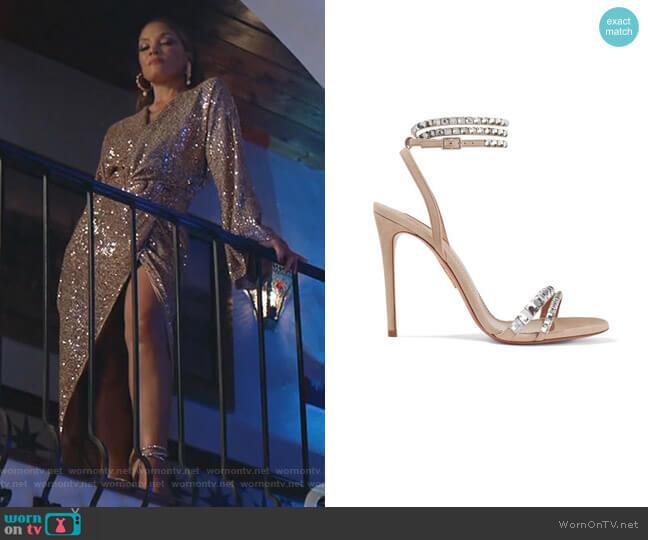 So Vera Crystal-Embellished Sandals by Aquazzura worn by Dominique Deveraux (Michael Michele) on Dynasty