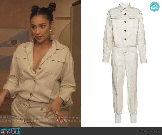 Off White Cotton And Linen Twill Jumpsuit by Sonia Rykiel worn by Stella Cole (Shay Mitchell) on Dollface