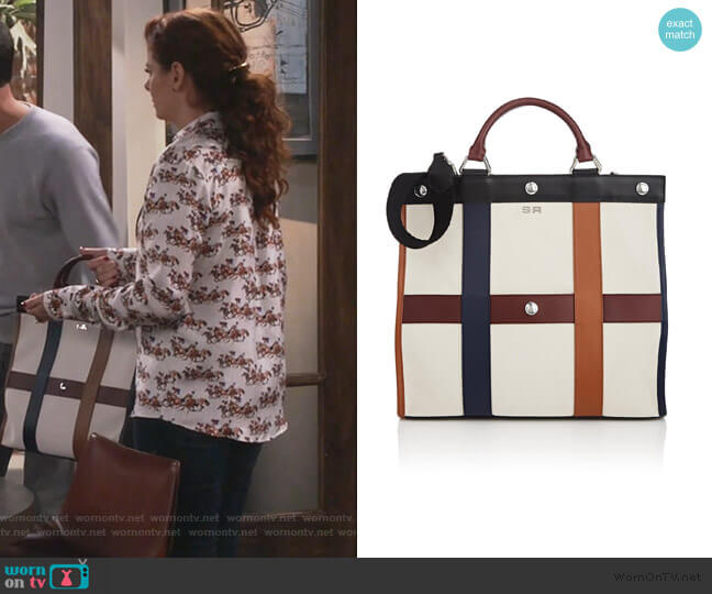Cindy Leather-Trimmed Canvas Tote Bag by Sonia Rykiel worn by Grace Adler (Debra Messing) on Will & Grace