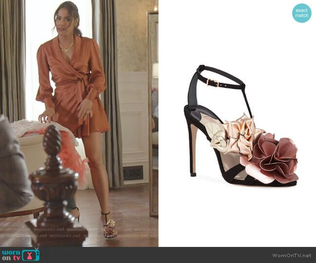 Jumbo Lilico Floral Velvet Sandals by Sophia Webster worn by Cristal Jennings (Daniella Alonso) on Dynasty