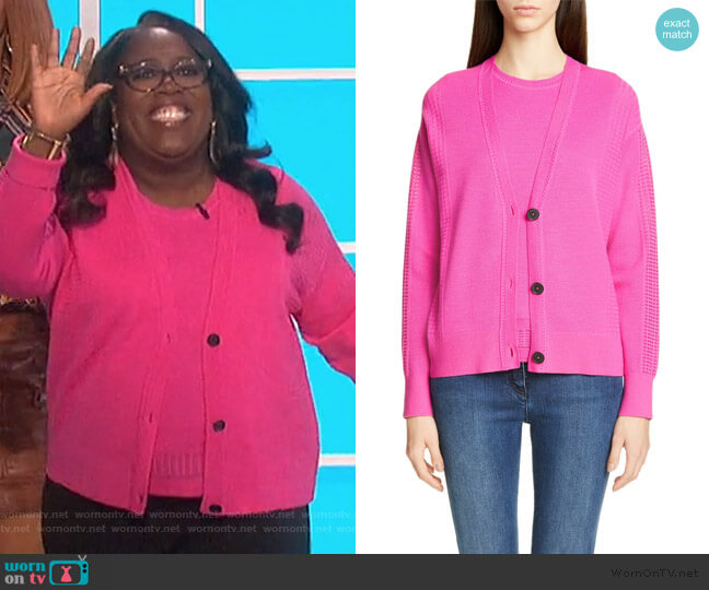 Knit Wool-Blend Shell and Cardigan by St John Collection worn by Sheryl Underwood  on The Talk