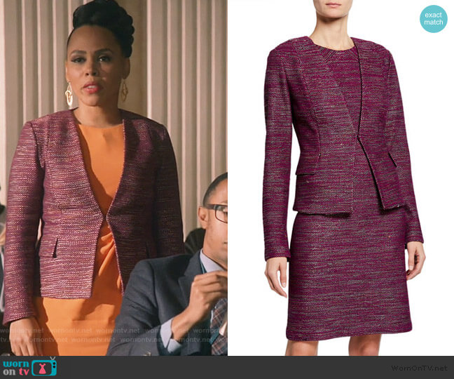 Plunging V-Neck Ombre Ribbon Tweed Jacket by St. John worn by Tegan Price (Amirah Vann) on HTGAWM