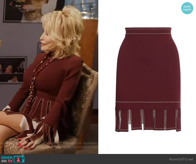 Fawn Skirt by Staud worn by Dolly Parton on GMA
