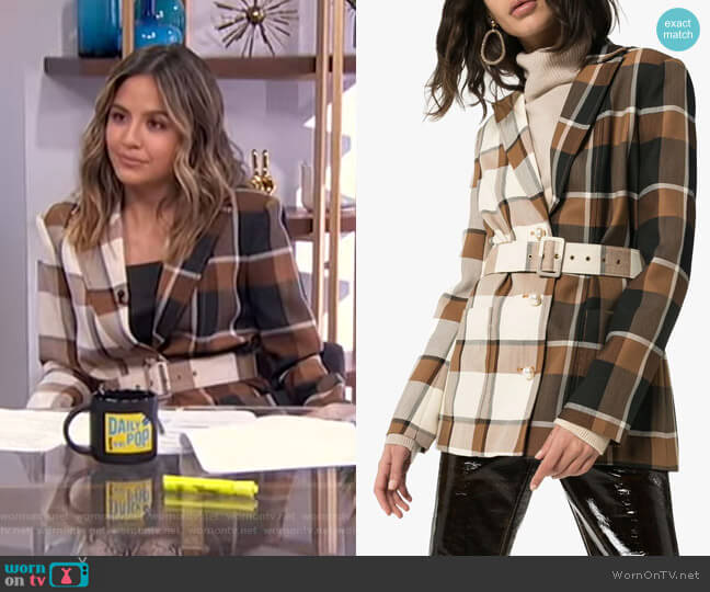 Two-Tone Check Blazer by Staud worn by Erin Lim  on E! News