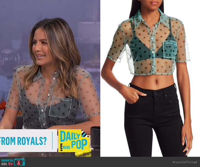 Violet Sheer Top by Staud worn by Erin Lim  on E! News