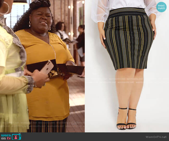 Stripe Crepe Pull-On Skirt by Ashley Stewart worn by Becky (Gabourey Sidibe) on Empire