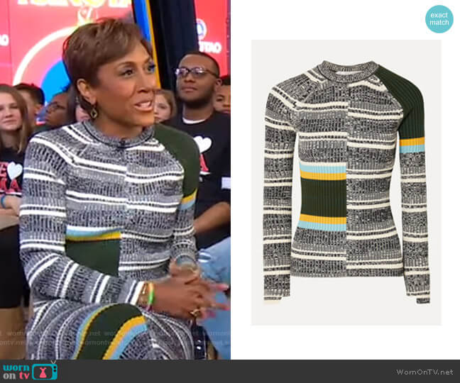 Striped Ribbed Sweater by Victoria Beckham worn by Robin Roberts  on Good Morning America