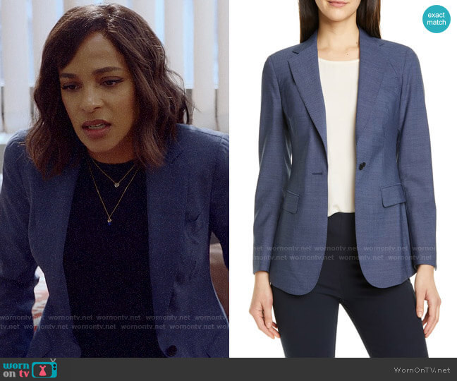 Suistudio Cameron Wool Suit Jacket worn by Edie Palmer (Megalyn Echikunwoke) on Almost Family