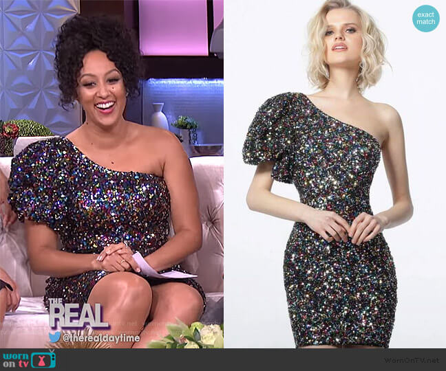 1898 Black Multi One Shoulder Sequin Cocktail Dress by Jovani worn by Tamera Mowry  on The Real