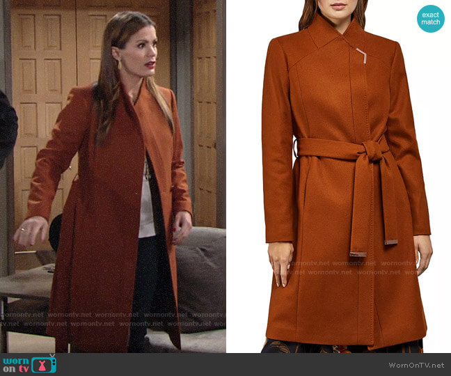 Ted Baker Ellgenic Long Belted Coat worn by Chelsea Lawson (Melissa Claire Egan) on The Young & the Restless