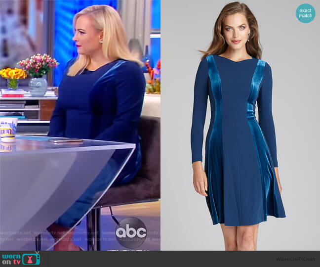 Crepe and Velvet Fit and Flare Dress by Teri Jon worn by Meghan McCain  on The View