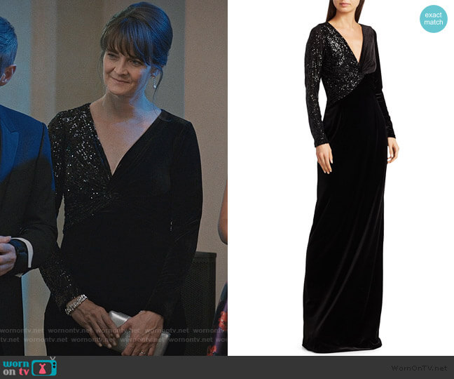 Stretch-Velvet Sequin Gown by Teri Jon by Rickie Freeman worn by Enid Graham on Madam Secretary
