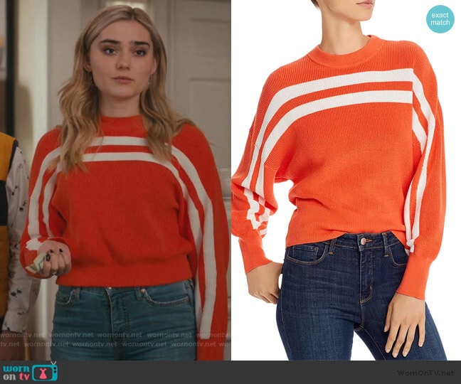 Spur Striped Cotton Sweater by The Fifth Label worn by Taylor Otto (Meg Donnelly) on American Housewife