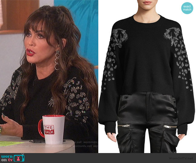 Embellished Puff-Sleeve Crop Sweater by The Kooples worn by Marie Osmond  on The Talk