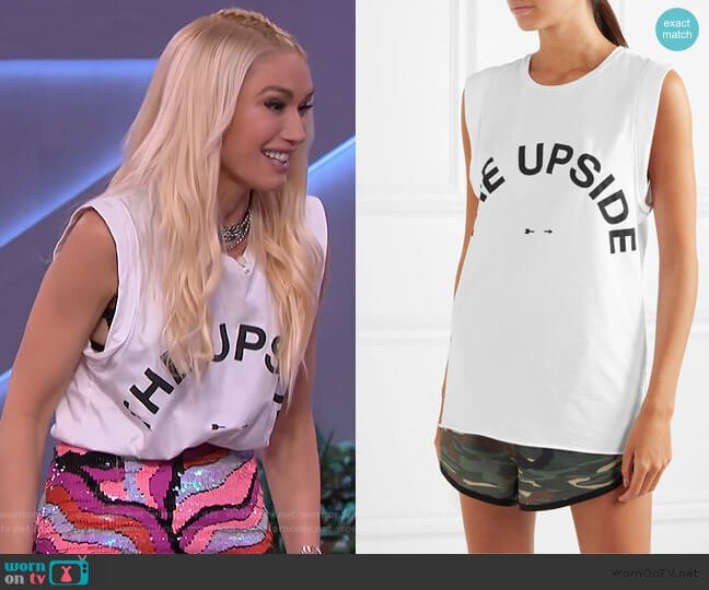 Muscle printed stretch-cotton jersey tank by The Upside worn by Gwen Steffani on The Kelly Clarkson Show