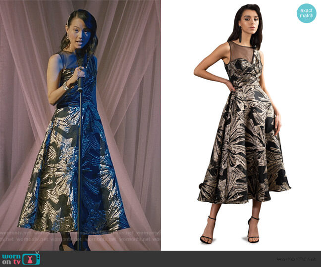 Brocade Tea Length Gown by Theia worn by Susan Lee on Madam Secretary