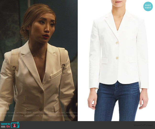 Double Stretch Cotton Shrunken Jacket by Theory worn by Madison Maxwell (Brenda Song) on Dollface