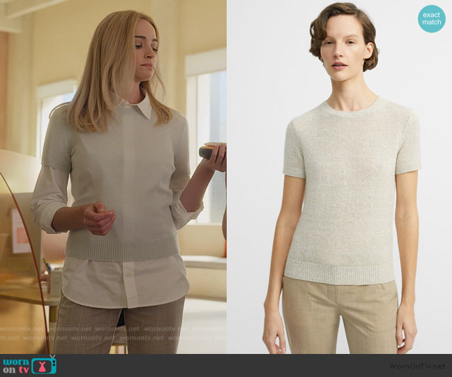 Linen-Cashmere Basic Tee by Theory worn by Alison B (Brianne Howey) on Dollface