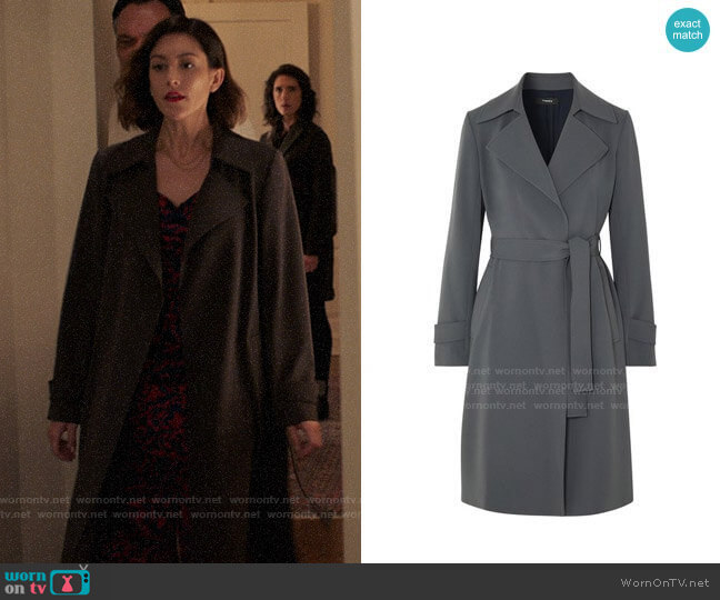 Theory Oaklane Trench Coat in Deep Slate worn by Sydney Strait (Caitlin McGee) on Bluff City Law